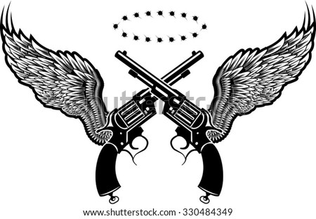 guns and wing - stock vector