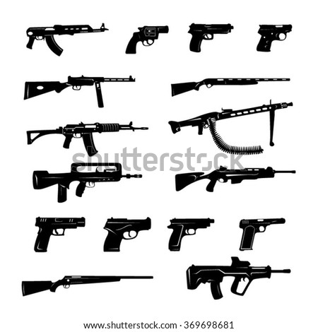 Guns black and white Icons- Illustration - stock vector