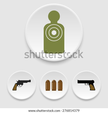 Guns, patrons and target icons - stock vector