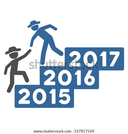 Guy Annual Help vector icon. Style is bicolor flat symbol, cobalt and gray colors, rounded angles, white background.