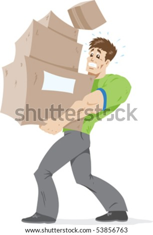Guy carrying way too many boxes. - stock vector