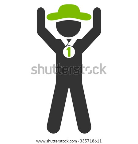 Guy Champion vector icon. Style is bicolor flat symbol, eco green and gray colors, rounded angles, white background. - stock vector