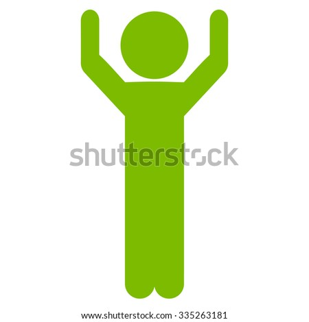 Guy Hands Up vector icon. Style is flat symbol, eco green color, rounded angles, white background. - stock vector