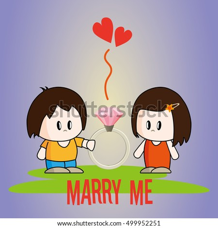 Guy Proposing Ask Girl Marry Him Stock Photo Photo Vector