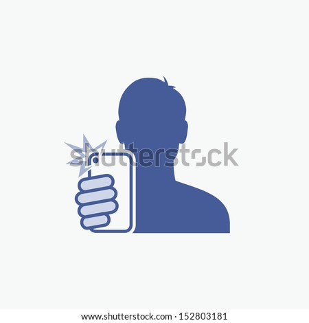 Guy taking self photo icon - vector illustration - stock vector