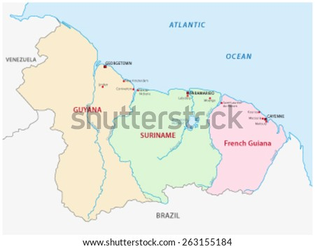 Guyana Suriname French Guiana Map Stock Vector 2018 263155184