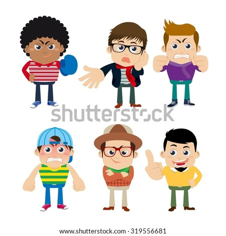 Guys in different poses - stock vector