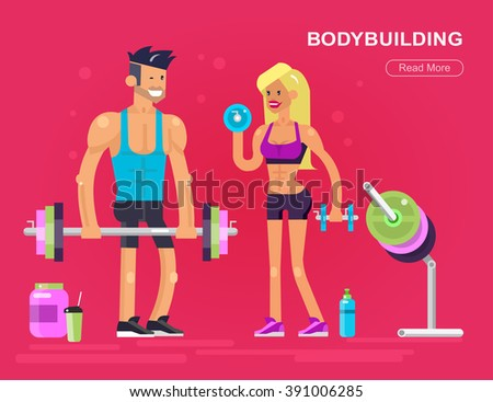 Gym design concept with men and women bodybuilders. Vector detailed character on workout with fitness equipment - stock vector