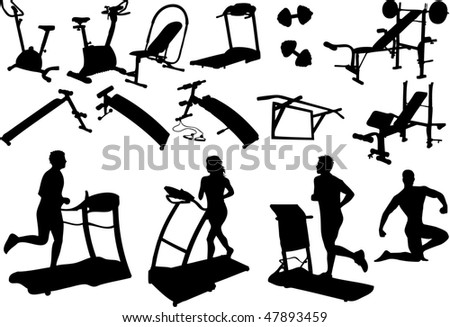 gym equipment, made in the image vectors - stock vector
