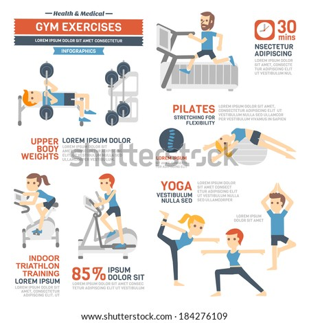GYM Exercises  Infographics - stock vector