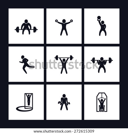 gym exercises square flat icons vector illustration, eps10, easy to edit - stock vector