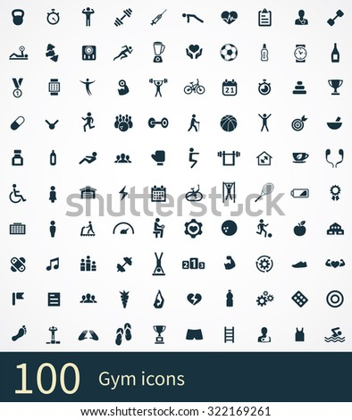 gym Icons Vector set. gym Icons Symbol set. gym Icons Picture set. gym Icon Image set. gym Icons Shape set. gym Icons Sign set 100 icons universal set for web and mobile  - stock vector