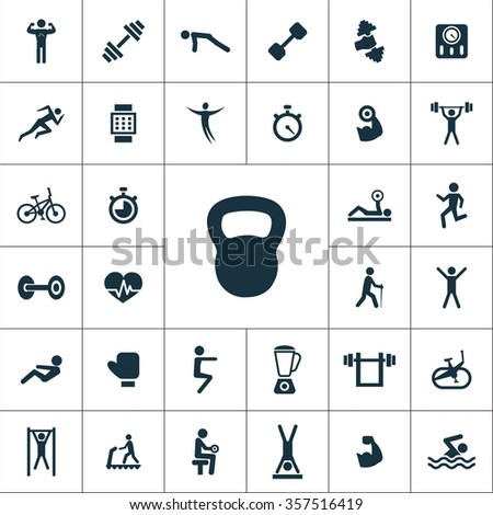 gym Icons Vector set. gym Icons Symbol set. gym Icons Picture set. gym Icon Image set. gym Icons Shape set. gym Icons Sign set icons universal set for web and mobile  - stock vector