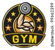 gym label (arm showing muscles and power symbol, bodybuilding badge, weight lifting) - stock vector