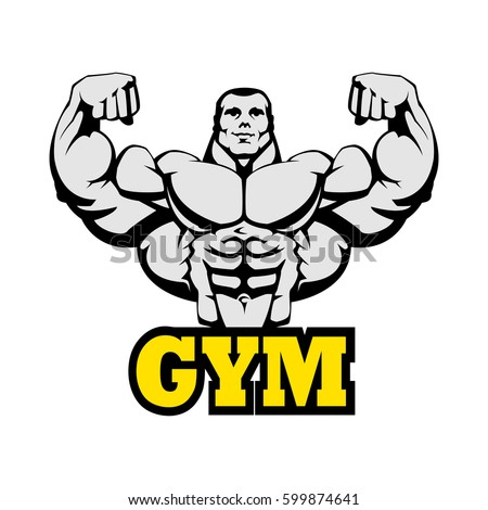 Gym Logo Design. Bodybuilding, Fitness, Powerlifting Club Vector Label. Black Outline, Yellow Text. EPS 10