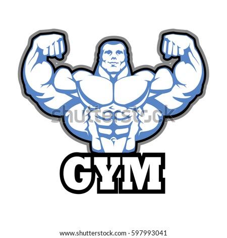 gym logo vector design muscle man stock vector royalty free rh shutterstock com gym logo workout logos