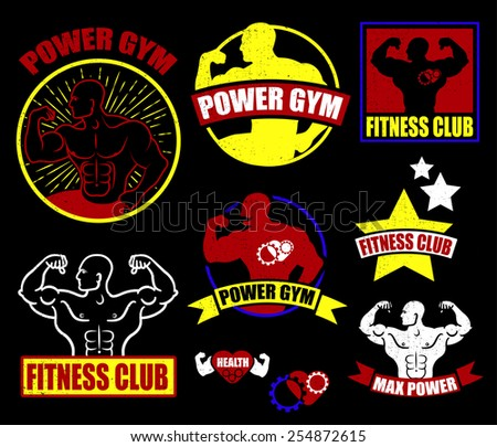 Gym logotypes. Athletic labels and badges made in vector. Bodybuilder, fit man, athlete icon. - stock vector