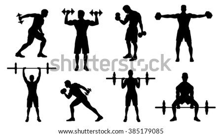 gym men silhouettes on the white background - stock vector