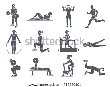 Gym sport exercises fitness weight loss and healthy lifestyle icons set vector illustration - stock vector