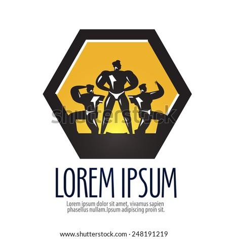 gym vector logo design template. bodybuilder or sports icon. - stock vector