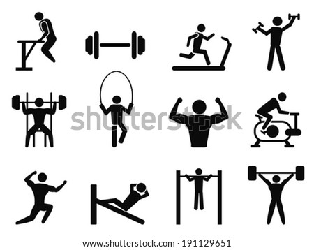Gymnasium and Body Building icons - stock vector