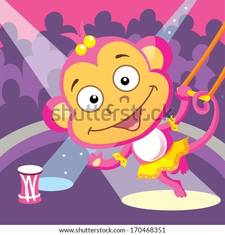 Gymnast circus monkey - stock vector