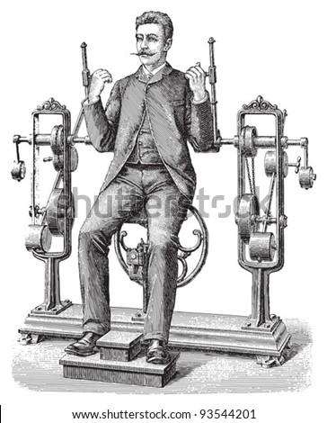 Gymnastics / vintage illustration from Meyers Konversations-Lexikon 1897 - stock vector