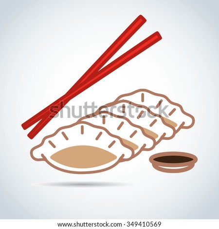 Gyoza with Cho yun in the Cup - stock vector
