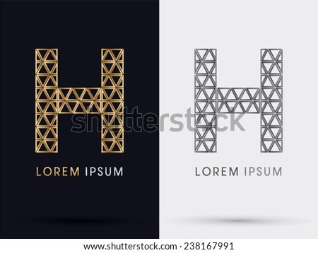 H alphabet font from Gold triangle, logo, symbol, icon, graphic, vector. - stock vector