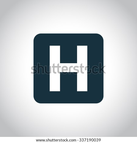 H hospital square sign. Black flat icon isolated on a white background - stock vector