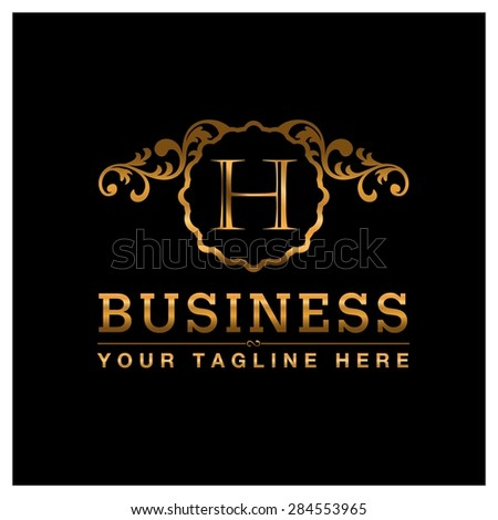 H letter Gold Luxury Logo template flourishes calligraphic elegant ornament lines. Business sign identity for Restaurant, Royalty, Cafe, Hotel, Heraldic, Jewelry, Fashion and other vector illustration
