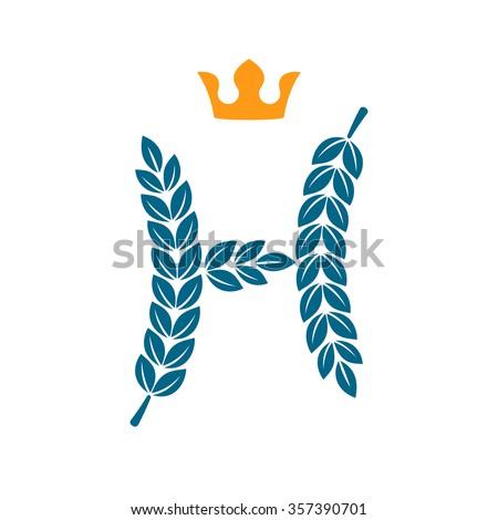 H letter logo formed by laurel stock vector royalty free for Laurel leaf crown template