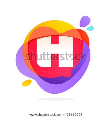 H letter logo with speech bubble and hearts. Vector typeface for communication app icon, corporate identity, card, labels or posters. - stock vector