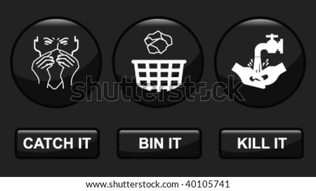 H1N1 swine flu prevention icon set fully layered - stock vector