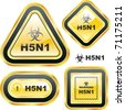 H5N1. Warning sign collection. - stock photo