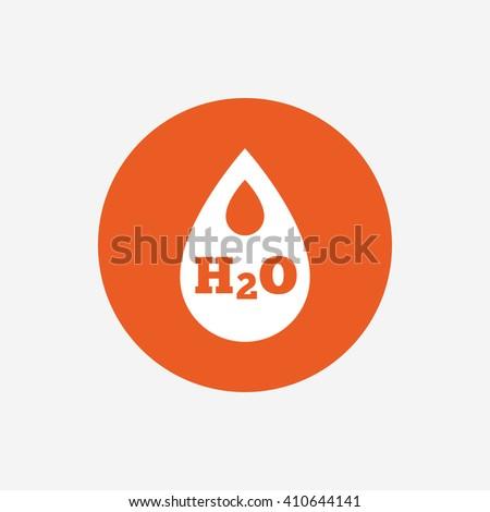 H2O Water drop sign icon. Tear symbol. Orange circle button with icon. Vector - stock vector