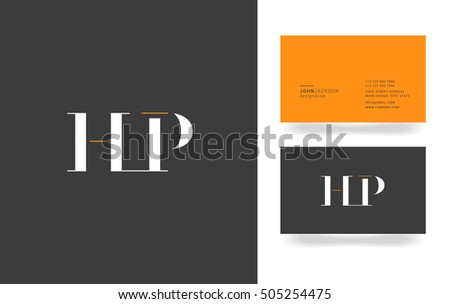 h and p template - h f letters logo business card stock vector 505256113