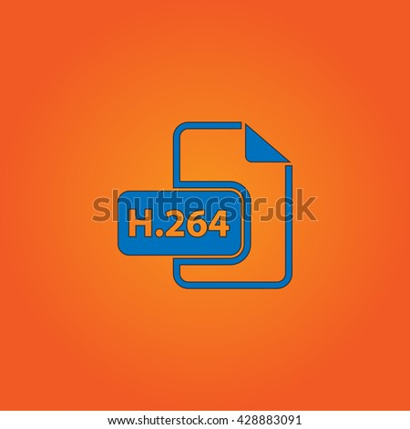 H264 video file extension. Blue flat icon with black stroke on orange background. Collection concept vector pictogram for infographic project and logo - stock vector