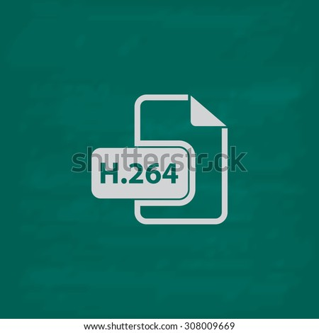 H264 video file extension. Icon. Imitation draw with white chalk on green chalkboard. Flat Pictogram and School board background. Vector illustration symbol - stock vector