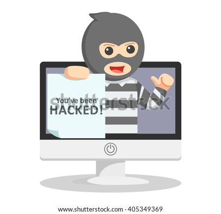 Hacked warning illustration - stock vector
