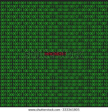 Hacker attack on digital binary background. Vector illustration. - stock vector