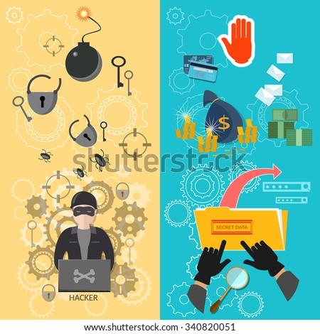 Hacker banners password guessing data protection virus infection theft of money bank card broken locks hacker breaks into computers - stock vector