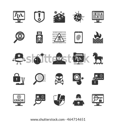 Hacker Black Icons Set. Isolated Vector Illustration