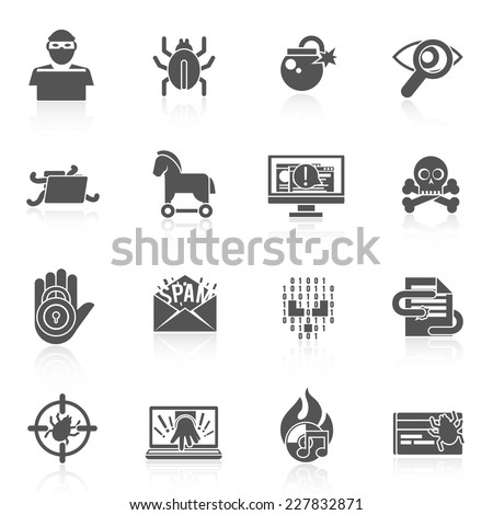 Hacker black icons set with bug virus crack worm spam isolated vector illustration - stock vector