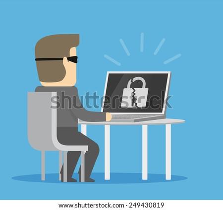 Hacker breaks into computer - stock vector