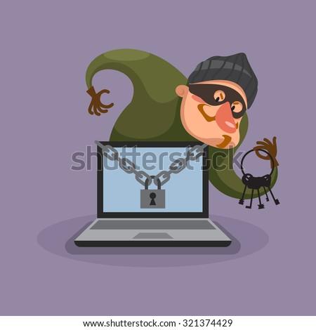 Hacker breaks into computer. Data theft. Vector illustration. - stock vector