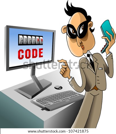 Hacker breaks the code on the computer using a mobile phone (vector) - stock vector