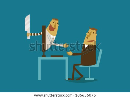 Hacker disguise for transact with businessman - stock vector