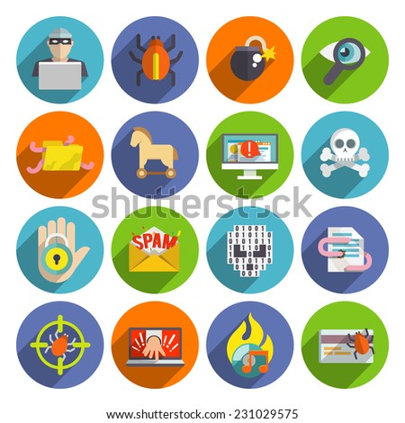 Hacker flat icons set with infected files e-mail spam viruses and bugs isolated vector illustration - stock vector