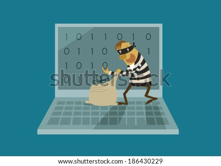 Hacker hack data on a laptop - stock vector